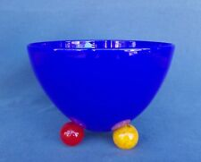 Blue Glass Bowl with Multi-Colored Glass Ball Feet - Signed