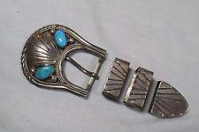 """H. Spencer Navajo Turquoise Ranger Belt Buckle SET - Sterling Silver -.75"""""""