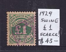 """Nsw: 1 Pound Stamp Duty """"Swine"""" 1929"""
