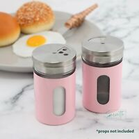 Salt And Pepper Shakers Pink Glass & Metal Spice Jars Salt Shaker
