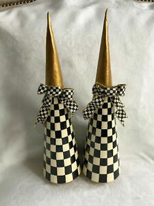 Mackenzie Childs Courtly Check Ribbon Bows on Hand Painted TREES (Set of 2) NEW