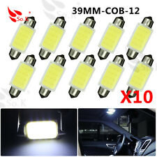 COB 39mm 12 Chips c5w White Festoon Dome interior Car LED Light Bulb Lamp x 10