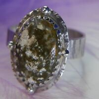 "Estate 3/4"" Cabochon Green Moss Agate 0.925 Sterling Silver Ring Size 8.75"