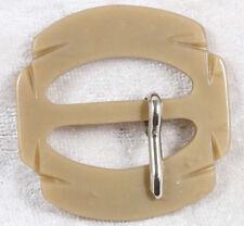 shaped plastic belt buckle 1.5 inches across brown mocha  vintage