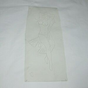 Vintage Acetate Tattoo Stencil Topless Dancer KPS 511 SR