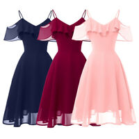 Women Cold Shoulder Dress Evening Party Bridesmaid Strappy Prom Gown Ruffles New
