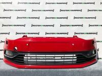 VW POLO 6C 2014-2017 FRONT BUMPER IN RED WITH FOGS AND GRILLS  GENUINE [V825]