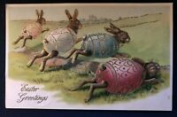Racing~Bunny~ RABBITS in FANCY~Eggshells  Embossed Fantasy EASTER Postcard~a906