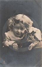 1907 RPPC of GIRL IN CURLS w KITTEN (#2) Postcard REAL PHOTO Photograph CAT