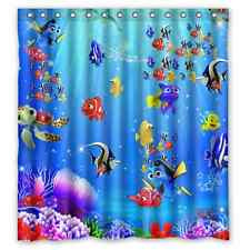 """Custom New Finding Nemo 12 holes to which rings attach Shower Curtain 66"""" x 72"""""""