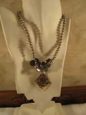 """Handcrafted, Sterling Silver, Pearl, Carved Mother of Pearl 16.5"""" Necklace"""
