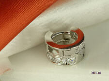 925 STERLING SILVER CZ ROUND HINGED HUGGIE HUGGY HOOP EARRINGS ~ MH48
