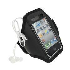 Noir iPhone 4 4S Sports forte brassard rembourré couverture souple avec poche pour écouteurs