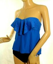 Hula Honey S Small 2 PC Cobalt Blue Ruffle Bandeau Apron Tankini Swimsuit