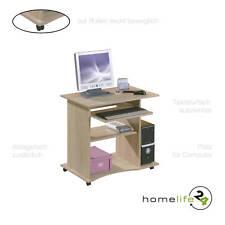 Computertisch PC-Tisch Schreibtisch Tastaturauszug auf Rollen in sonoma eiche
