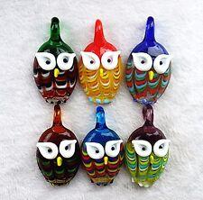 55x30x11mm 6PCS Mixed color diamond cute Owl Glass Necklace Pendant Vk6498