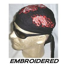 SEA SERPENT DRAGON Tribal EMBROIDERED FITTED BANDANA w/TIES Doo Do Rag Skull Cap