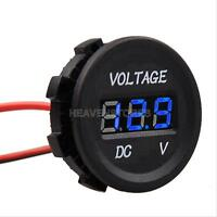 12V-24V Car Motorcycle LED DC Digital Display Voltmeter Meter Waterproof Blue