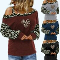 Women Leopard Cold Shoulder Blouse Long Sleeve Top Loose Fit Casual Shirt Tunic
