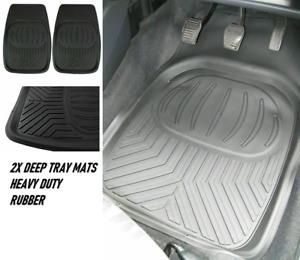 Heavy Duty Deep Tray Rubber Car Floor Mats 2pc Set FOR MITSUBISHI L200 BARBARIAN