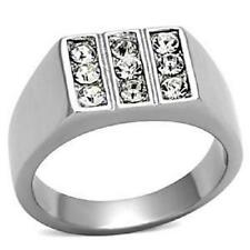 TK957 9STONE SIGNET PINKY SIMULATED DIAMOND  MENS RING MANS STAINLESS STEEL