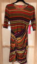 BETSEY JOHNSON Retro 90s Multi Color Striped Ruched Front Dress Career Sz 2 NWT