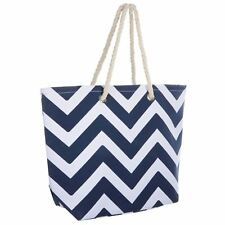 Ladies Navy Chevron Canvas Beach Shoulder Bag Tote Shopping Reuseable Handbag