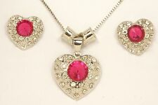 Women's 18 Carat White Gold Plated Red Crystal Heart Earrings Necklace Set