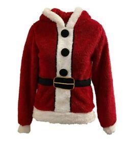 Ex Primark Super Soft Santa Hooded Christmas Xmas Jumper Fleece Top Size 8 - 20