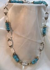 VINTAGE Clear glass beads CLUSTERED FAUX TURQUOISE PIECES BRASS GOLDTONE Accent