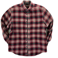 Nordstrom Mens Flannel Oxford Shirt Red Plaid Traditional Fit Pocket Cotton M