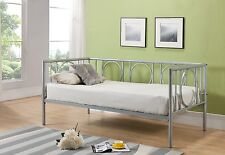 Kings Brand Silver Finish Metal Astoria Day Bed (Daybed) Frame With Metal Slats