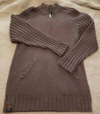 Harley Davidson Mens Sweater Brown 1/4 Zip Heavy Knit Pullover Size Small S