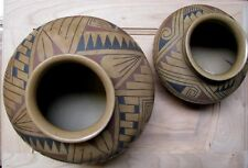 2 Pc. Collection MATA ORTIZ' POTTERY VASES ARTIST FLORA RODRIGUEZ HAND MADE