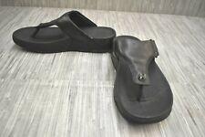 FitFlop Trakk II 279-090 Leather Toe Post Sandals, Men's Size 10, Black