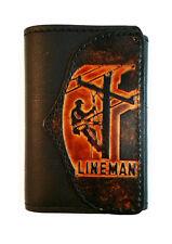 Lineman Leather Trifold Wallet,  Linesman, Powerline Technician,  Free Key Chain