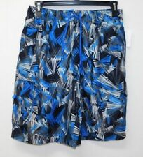O'RAGEOUS Blue/Black Print Elastic Waist Mesh Lined Swim Trunks Shorts Mens sz L