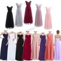 Long Chiffon Lace Bridesmaid Formal Evening Prom Party Women's Dress Size 4-16