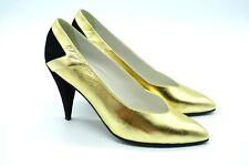 Maud Frizon Paris 37.5 Gold Black Leather Heels Size 7.5 Womens 1980s Italian