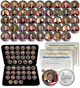 ALL 45 United States PRESIDENTS Full Coin Set Colorized DC Quarters w/ Box & COA