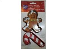 Wilton Christmas Cookie Cutter Set - 2 Cutters - 1 Gingerbread Man & 1 Candycane