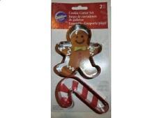 Wilton Christmas Cookie Cutter Set - 2 Cutters - 1 Gingerbread Man & 1 Candycane