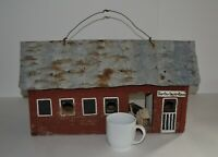 """VINTAGE WOOD BIRD HOUSE """"THE OLD DAIRY BARN"""" 19.5"""" WIDE 11.5"""" TALL--METAL ROOF"""
