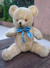 1960s RARE MEXICAN MUSICAL GOLD MOHAIR?? TEDDY BEAR WOOD WOOL-GLASS EYES WORKS