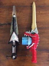 Lot Of 2 Power Rangers Swords, Lights Sounds, Dino Charge, Bandai, Saban