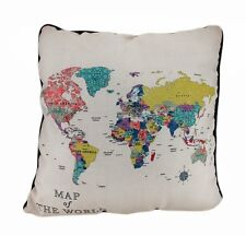 "Colorful MAP OF THE WORLD Decorative Throw Pillow 18"" x 18"", by Manual Weavers"