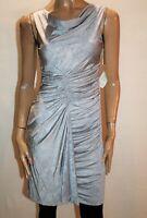 ADIDAN MATTOX Brand Silver Ruched Sleeveless Dress Size 6 #AN02