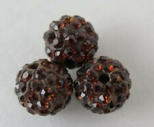 3PCS Brown Polymer Clay Crystal Shamballa Shambala Beads Diy Beads Zardenia
