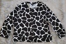 RAFAELLA Animal Print Cardigan Womens P/M Medium Black & White Sweater Button Up
