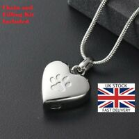 Pet Cat Dog Paw Heart Cremation Urn Pendant Ashes Necklace Funeral Memorial UK